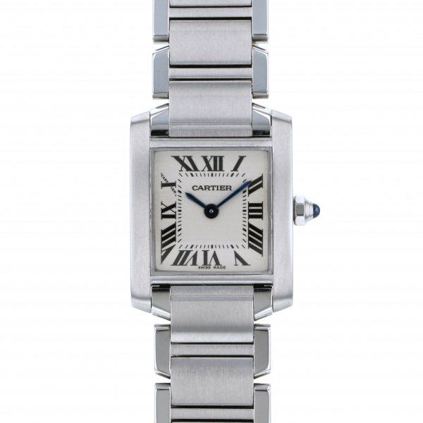 カルティエ CARTIER タンク フランセーズ SM W51008Q3 ホワイト文字盤 レディース 腕時計 【中古】