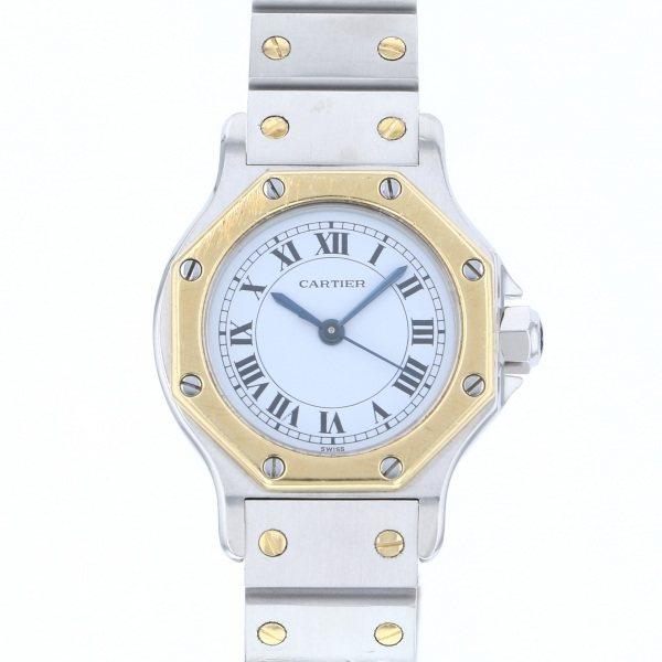 【全品 ポイント10倍 4/9~4/16】カルティエ CARTIER サントス オクタゴン - ホワイト文字盤 レディース 腕時計 【中古】