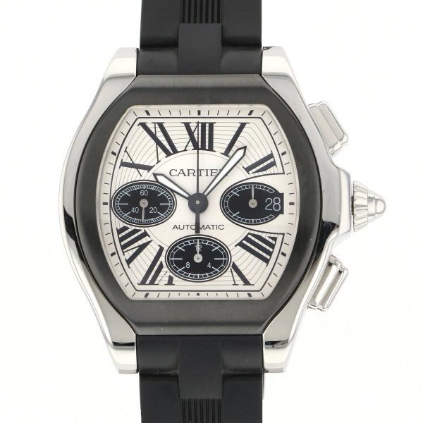 カルティエ CARTIER ロードスター S クロノグラフ W6206020 シルバー文字盤 メンズ 腕時計 【中古】
