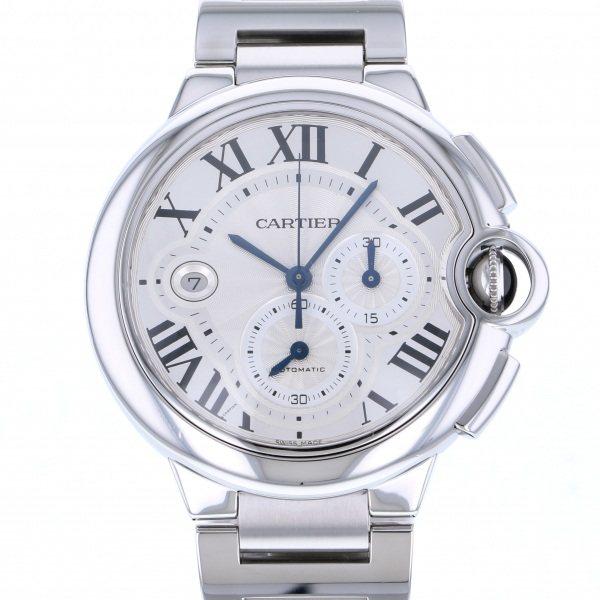 カルティエ CARTIER バロンブルー クロノグラフ W6920002 シルバー文字盤 メンズ 腕時計 【中古】