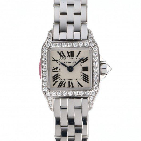 カルティエ CARTIER サントス ミニサントス ドゥ モワゼル WF9005Y8 ホワイト文字盤 レディース 腕時計 【中古】