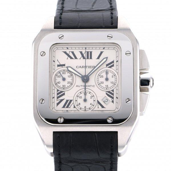 カルティエ CARTIER サントス 100 クロノグラフ XL W20090X8 シルバー文字盤 メンズ 腕時計 【中古】