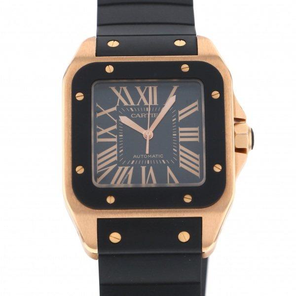 【全品 ポイント10倍 4/9~4/16】カルティエ CARTIER サントス 100 LM W20124U2 ブラック文字盤 メンズ 腕時計 【中古】