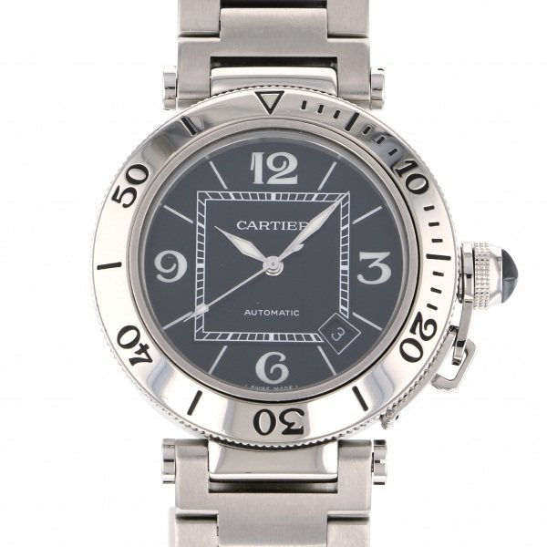 カルティエ CARTIER パシャ W31077M7 ブラック文字盤 メンズ 腕時計 【中古】