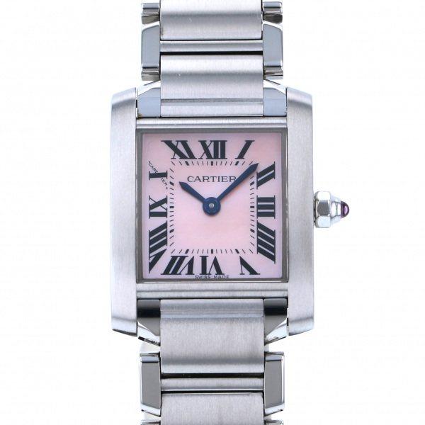 カルティエ CARTIER タンク フランセーズ SM W51028Q3 ピンク文字盤 レディース 腕時計 【中古】