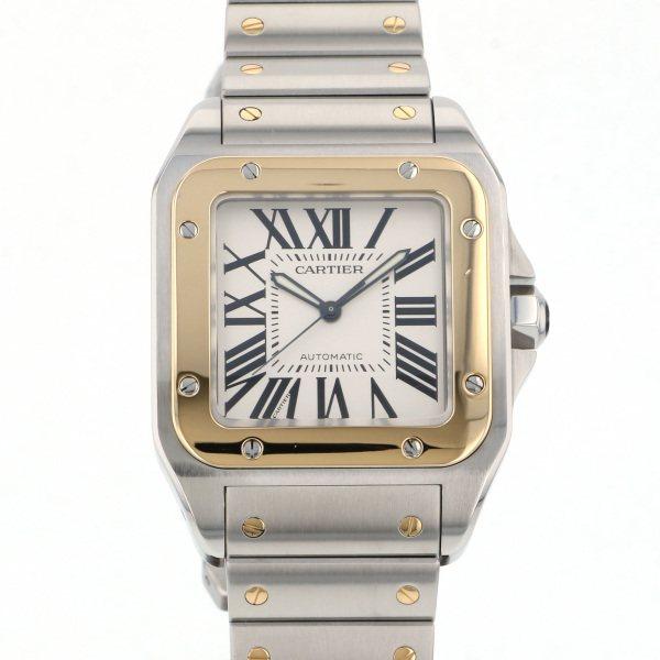 カルティエ CARTIER サントス 100 LM W200728G シルバーローマ文字盤 メンズ 腕時計 【中古】