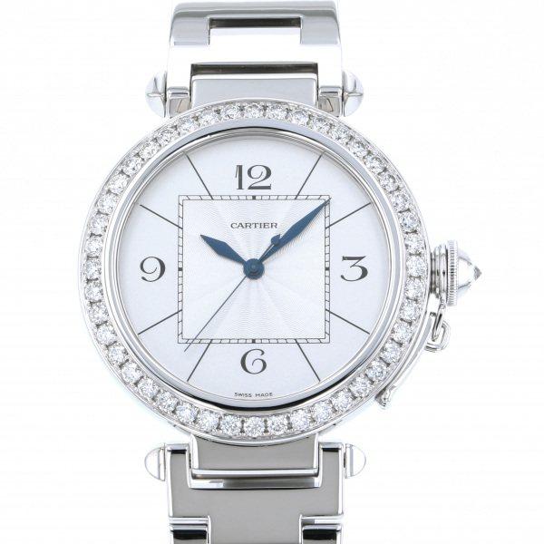 【期間限定ポイント5倍 5/5~5/31】 カルティエ CARTIER パシャ 42mm ベゼルダイヤ WJ1202M9 シルバー文字盤 メンズ 腕時計 【中古】