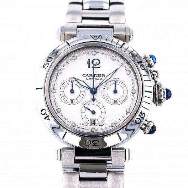 カルティエ CARTIER パシャ 38mm クロノグラフ W31030H3 シルバー文字盤 メンズ 腕時計 【中古】