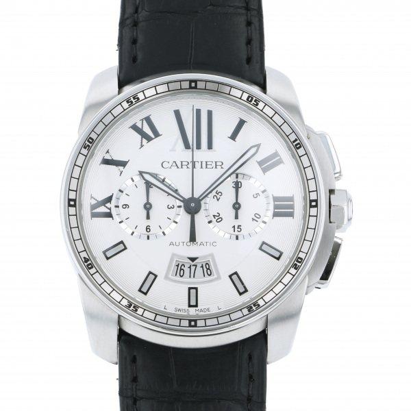 カルティエ CARTIER カリブル ドゥ カルティエ クロノグラフ W7100046 シルバー文字盤 メンズ 腕時計 【中古】