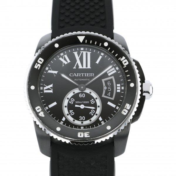 【期間限定ポイント5倍 5/5~5/31】 カルティエ CARTIER カリブル ドゥ カルティエ ダイバー カーボン WSCA0006 ブラック文字盤 メンズ 腕時計 【中古】