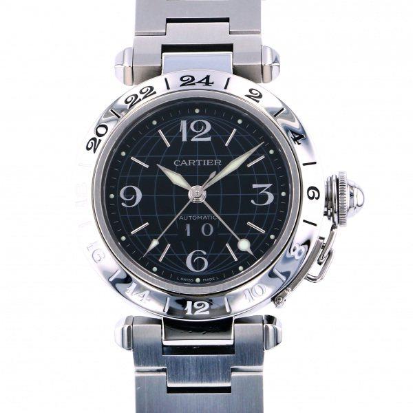 カルティエ CARTIER パシャ C メリディアン GMT ビッグデイト W31049M7 ブラック文字盤 メンズ 腕時計 【中古】