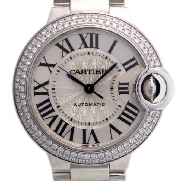 カルティエ CARTIER バロンブルー ベゼルダイヤ WE9006Z3 シルバー文字盤 レディース 腕時計 【新品】