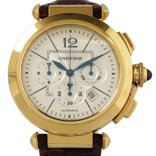 カルティエ CARTIER パシャ XL クロノグラフ W3020151 シルバー文字盤 メンズ 腕時計 【中古】