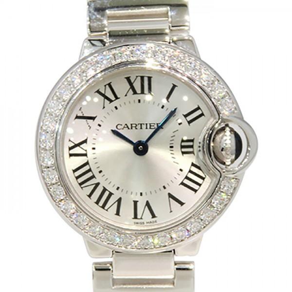 カルティエ CARTIER バロンブルー ベゼルダイヤ WE9003Z3 シルバー文字盤 レディース 腕時計 【中古】