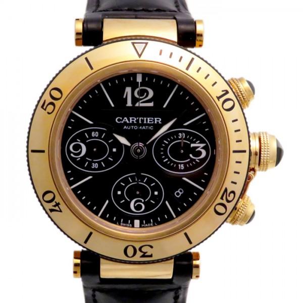 カルティエ CARTIER パシャ シータイマー クロノグラフ W3030017 ブラック文字盤 メンズ 腕時計 【新品】