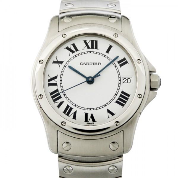 カルティエ CARTIER サントスクーガー ホワイト文字盤 ボーイズ 腕時計 【中古】