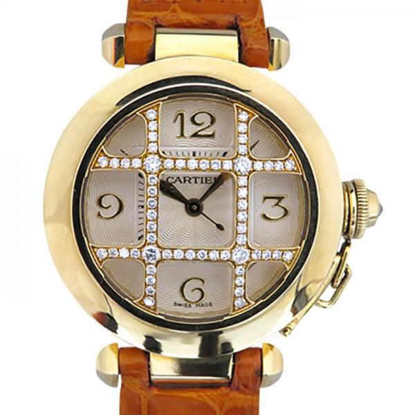カルティエ CARTIER パシャ グリッド ダイヤモンド WJ116056 シルバー文字盤 レディース 腕時計 【中古】