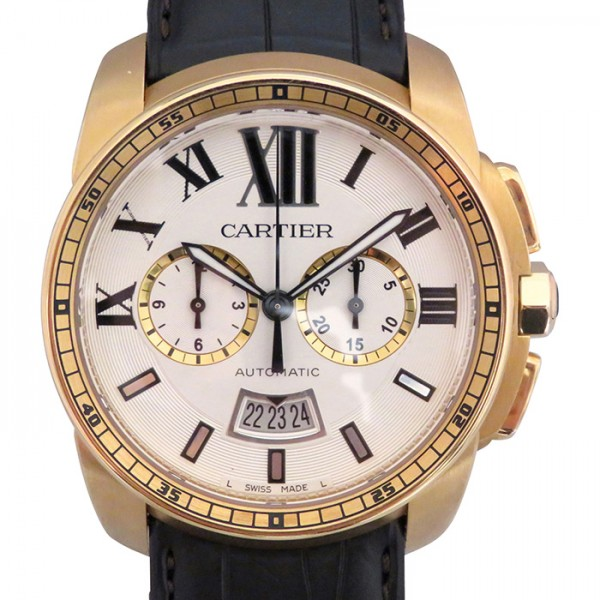 カルティエ CARTIER カリブル ドゥ カルティエ クロノグラフ W7100044 シルバー文字盤 メンズ 腕時計 【中古】