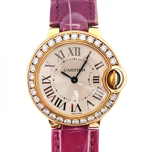 カルティエ CARTIER バロンブルー ベゼルダイヤ WE900251 シルバー文字盤 レディース 腕時計 【中古】