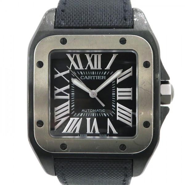 カルティエ CARTIER サントス 100 カーボン W2020010 ブラック文字盤 メンズ 腕時計 【中古】