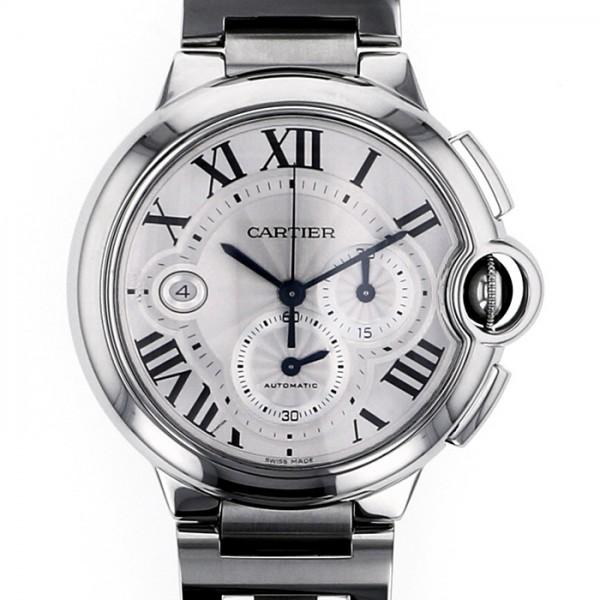 カルティエ CARTIER バロンブルー クロノ W6920002 シルバー文字盤 メンズ 腕時計 【中古】