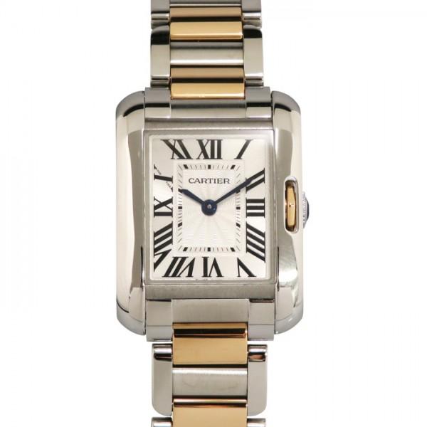 カルティエ CARTIER タンク アングレーズ SM W5310036 シルバー文字盤 レディース 腕時計 【中古】