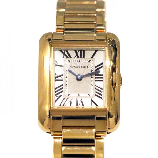 カルティエ CARTIER タンク アングレーズ SM W5310013 ホワイト文字盤 レディース 腕時計 【中古】