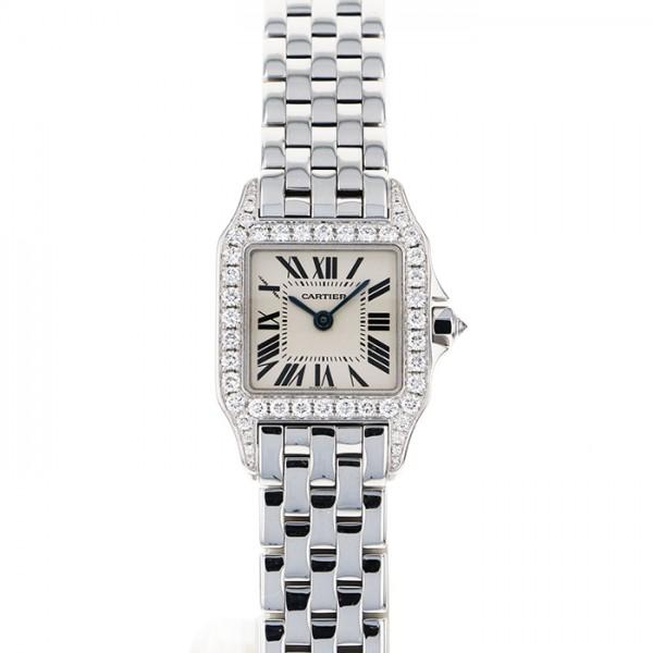 カルティエ CARTIER サントス ドゥ モワゼル SM WF9003Y8 シルバー文字盤 レディース 腕時計 【中古】