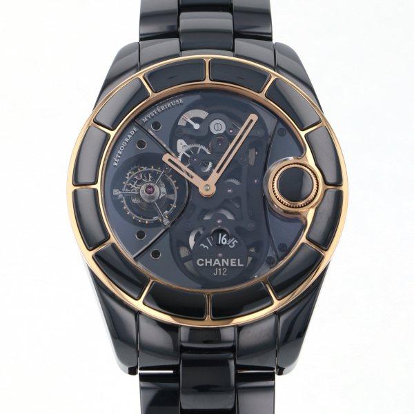 シャネル CHANEL J12 レトログラード ミステリユーズ H2556 ブラック文字盤 メンズ 腕時計 【中古】
