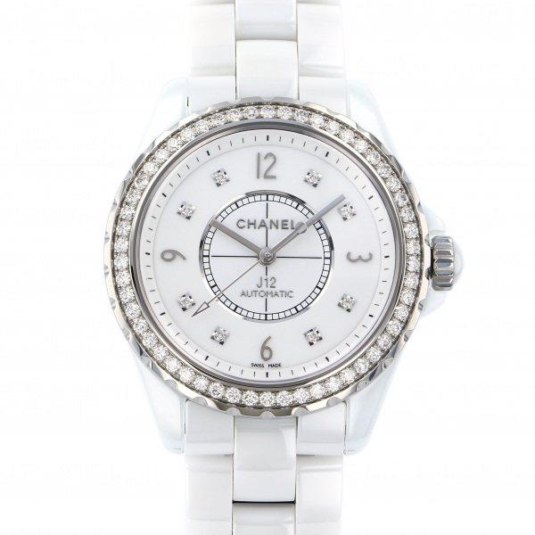 シャネル CHANEL J12 38mm ベゼルダイヤ H3111 ホワイト文字盤 メンズ 腕時計 【新品】