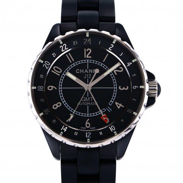 シャネル CHANEL J12 GMT マットブラック H3101 ブラック文字盤 メンズ 腕時計 【中古】