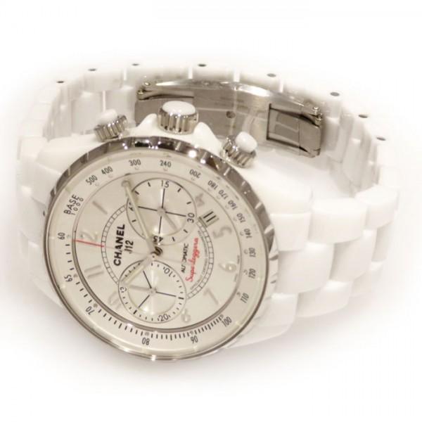 428c2b86bbe2 シャネルCHANELJ12スーパーレッジェーラクロノグラフH3410シルバー文字盤メンズ腕時計【新品】
