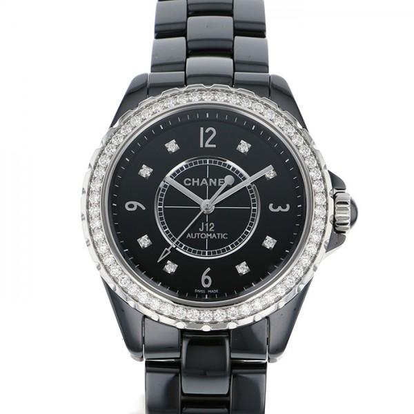 シャネル CHANEL J12 38mm ベゼルダイヤ H3109 ブラック文字盤 メンズ 腕時計 【中古】