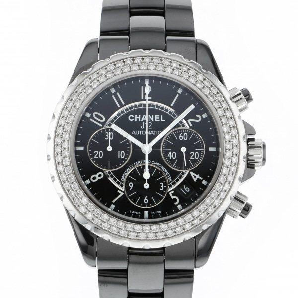【全品 ポイント10倍 4/9~4/16】シャネル CHANEL J12 クロノグラフ ベゼルダイヤ H1009 ブラック文字盤 メンズ 腕時計 【中古】