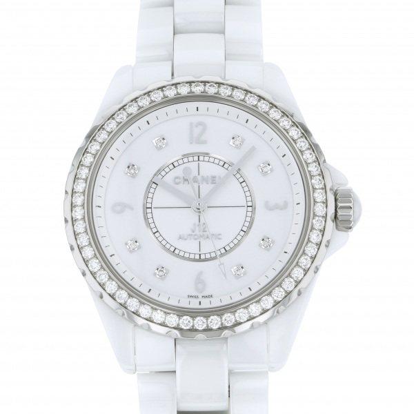 【全品 ポイント10倍 4/9~4/16】シャネル CHANEL J12 38mm ベゼルダイヤ H3111 ホワイト文字盤 メンズ 腕時計 【中古】