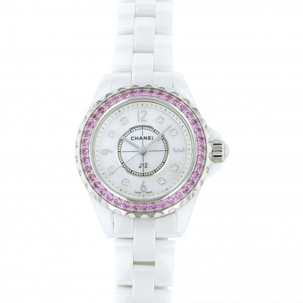 シャネル CHANEL J12 29mm ベゼルピンクサファイア H3243 ホワイト文字盤 レディース 腕時計 【中古】