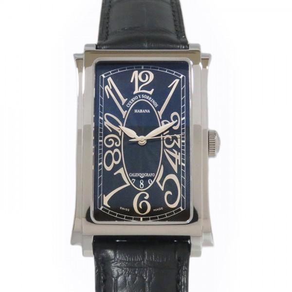 クエルボ・イ・ソブリノス CUERVO Y SOBRINOS プロミンテ ソロテンポ 1012-1NG ブラック文字盤 メンズ 腕時計 【新品】