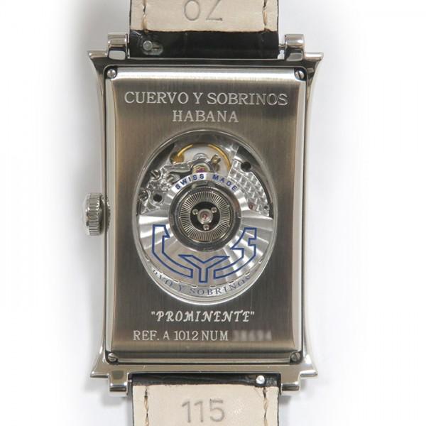 クエルボ・イ・ソブリノス CUERVO Y SOBRINOS プロミネンテ ソロテンポ 1012-1AG ホワイト文字盤 メンズ 腕時計 【新品】