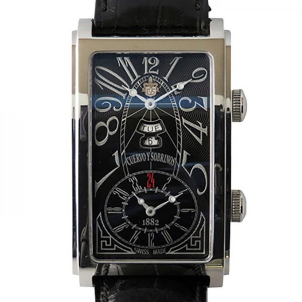 衝撃特価 クエルボ・イ・ソブリノス CUERVO Y SOBRINOS プロミネンテ デュアルタイム 1124-1ANG ブラック文字盤  腕時計 メンズ, ウィッグエクステ WigInBloom 7fd2355a