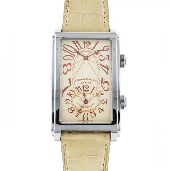 クエルボ・イ・ソブリノス CUERVO Y SOBRINOS プロミネンテ 1112/2 アイボリー文字盤 メンズ 腕時計 【中古】