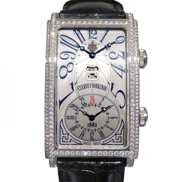 クエルボ・イ・ソブリノス CUERVO Y SOBRINOS プロミネンテ デュアルタイム デイデイト ベゼルダイヤ 1124-1AAG-S3 シルバー文字盤 メンズ 腕時計 【中古】