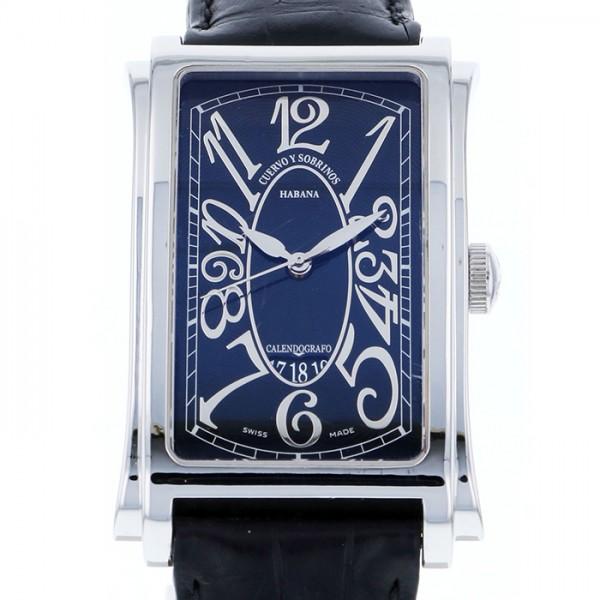 クエルボ・イ・ソブリノス CUERVO Y SOBRINOS プロミネンテ ソロテンポ 1012-1NG ブラック文字盤 メンズ 腕時計 【中古】