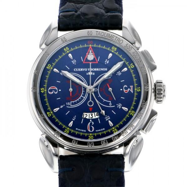 クエルボ・イ・ソブリノス CUERVO Y SOBRINOS ヒストリアドール ヴェロ 3201-1B ブルー文字盤 メンズ 腕時計 【中古】