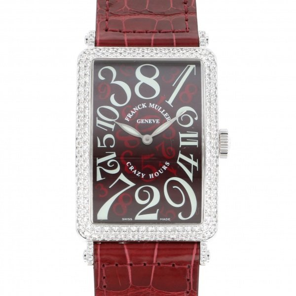フランク・ミュラー FRANCK MULLER ロングアイランド クレイジーアワーズ 1200CHD レッド文字盤 メンズ 腕時計 【中古】