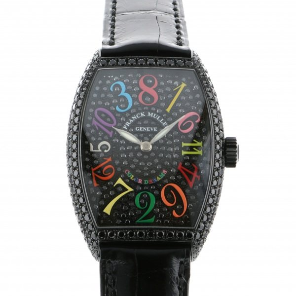 フランク・ミュラー FRANCK MULLER トノウカーベックス クレイジーアワーズ カラードリーム ダイヤモンド 7851CH NR D CD 全面ブラックダイヤ文字盤 メンズ 腕時計 【中古】