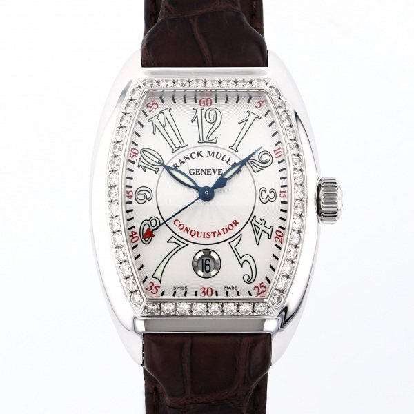 フランク・ミュラー FRANCK MULLER コンキスタドール ベゼルダイヤ 8005SC D 1R シルバー文字盤 メンズ 腕時計 【中古】