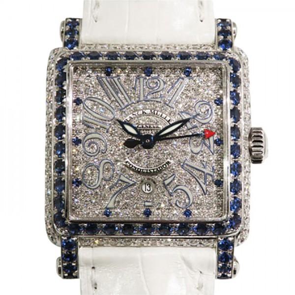 フランク・ミュラー FRANCK MULLER コンキスタドール コルテス ブルーナイト ベゼルダイヤ 10000LD CD BLUE 全面ダイヤ文字盤 レディース 腕時計 【中古】