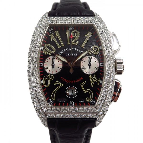 フランク・ミュラー FRANCK MULLER コンキスタドール クロノグラフ ケースダイヤ 8002CC D ブラック/シルバー文字盤 メンズ 腕時計 【中古】