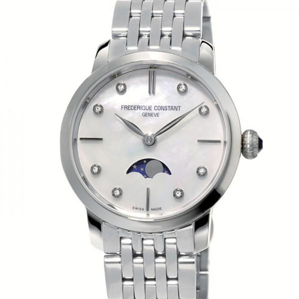 フレデリック・コンスタント FREDERIQUE CONSTANT スリムライン ムーンフェイズ レディース FC-206MPWD1S6B ホワイト文字盤 レディース 腕時計 【新品】