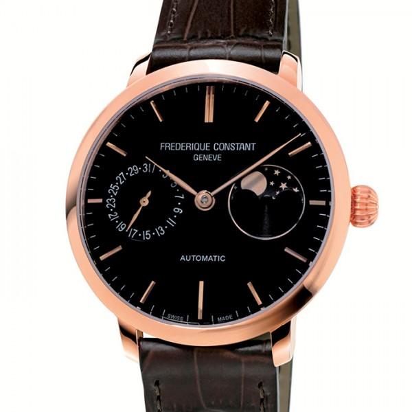 フレデリック・コンスタント FREDERIQUE CONSTANT  スリムライン ムーンフェイズ マニュファクチュール FC-702G3S4 ブラック文字盤 メンズ 腕時計 【新品】